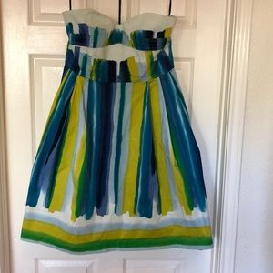 Calvin Klein Multi-Colored Strapless Garden Dress